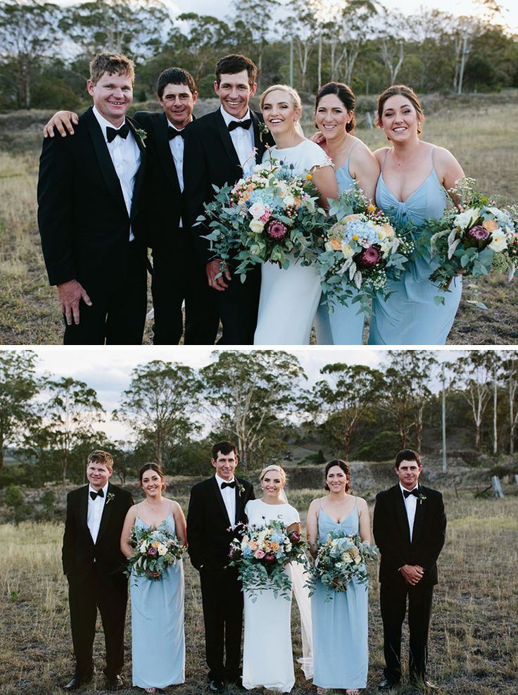 Bridesmaids in powder plue dresses and groomsmen in black tie for rustic country wedding | Jessica Turich Photography
