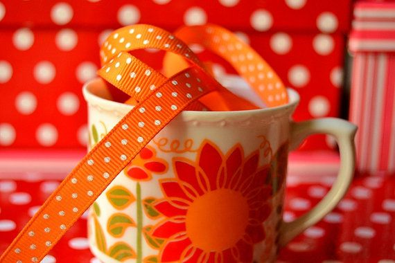 Orange Polka Dots Ribbon 5 meters - Grosgrain Ribbon 10mm - Printed Ribbon- Gift Wrapping Ribbon- Spotty Ribbon - Craft Ribbon