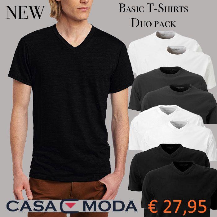 Nieuw in ons assortiment: Basic T-Shirts van Casa Moda. Wit of Zwart met ronde hals of V-hals. Perfect voor op een spijkerbroek en/of voor onder een overhemd.