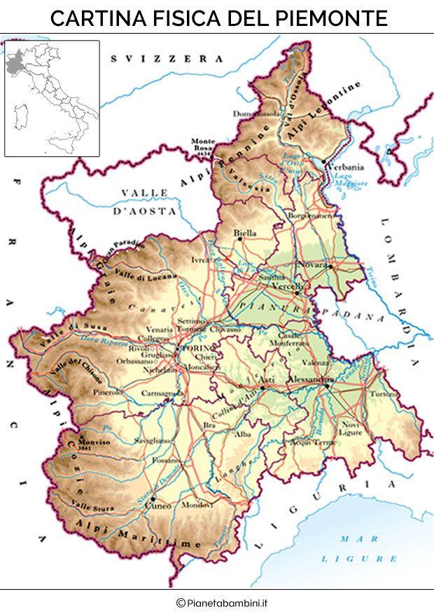 Cartina fisica del Piemonte