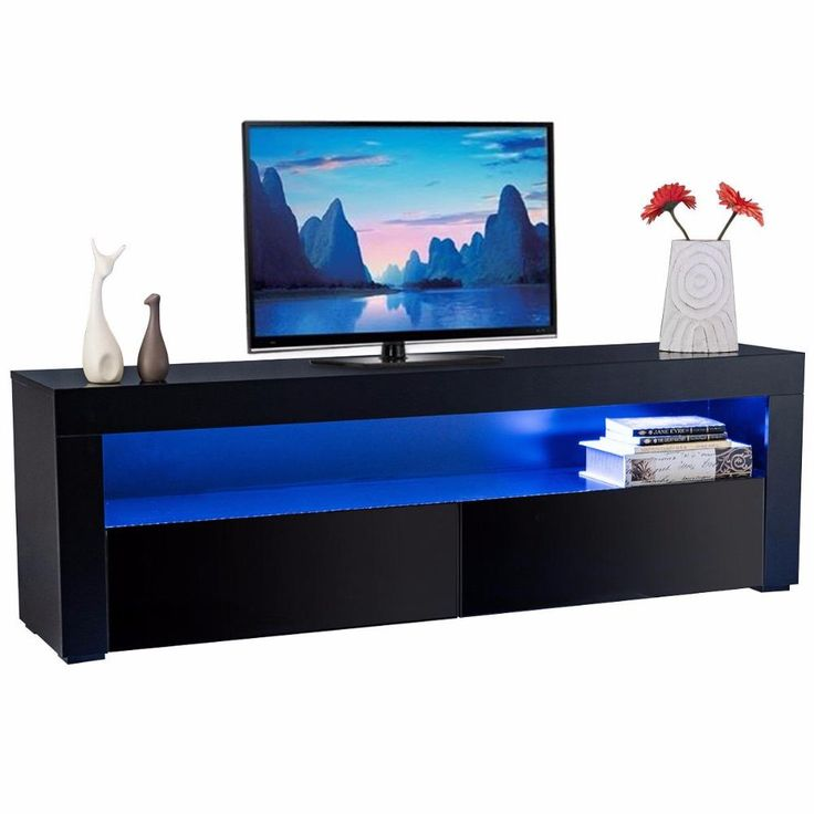 Giantex Led TV Stand Unit Cabinet Wood Console Table with LED Shelves and Drawers Modern Living Room Furniture HW56643BK