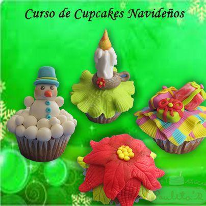 Cupcakes Navideños, modelos exclusivos, cursos de cupacakes www.paulitas.com