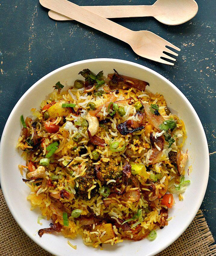 authentic Hyderabadi biryani recipe, Biryani rice, how to make vegetable biryani, veg biryani recipe, restaurant style biryani recipe, dum ki biryani, – The Veggie Indian