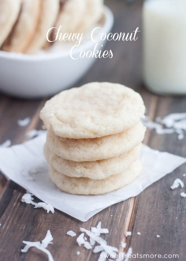 Chewy Coconut Cookies. Made with butter or coconut oil, sugar, vanilla, eggs, flour, baking powder, salt, shredded coconut, additional sugar to roll cookies in, and chocolate chips for drizzling over cookies (optional).