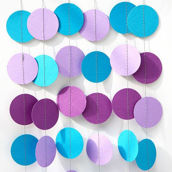 Mermaid party decoration - Purple, lilac, blue turquoise - Birthday decoration - Paper garland - Nursery - Boys room decor - Circles garland on Etsy, $6.00