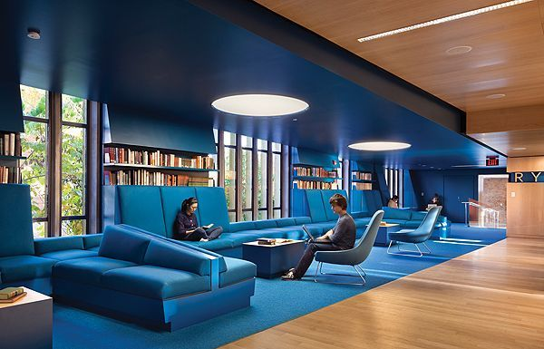 The ideal University would have this nice blue study area to help calm and focus students while they do their work while also encouraging collaboration with fellow students.