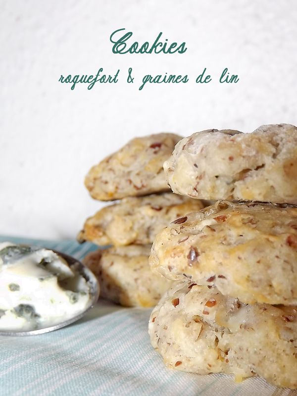Cookies salés roquefort & graines de lin - Plus de #recettes au #roquefort sur notre blog Les recettes Roquefort Papillon : www.recetteroquefort.fr/