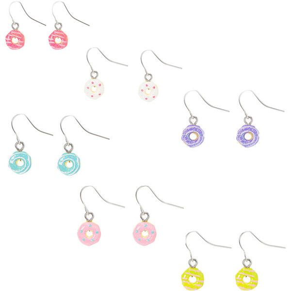 Glitter Donut Drop Earrings | Claire's (605 DOP) ❤ liked on Polyvore featuring jewelry, earrings, drop earrings, glitter jewelry, claires jewelry, claire's earrings and glitter earrings