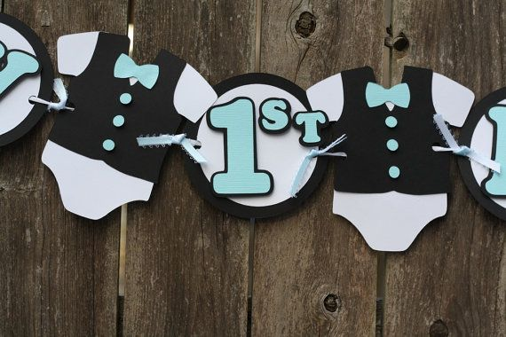 Tuxedo and top hat little man birthday banner by RandRcreation, $38.00