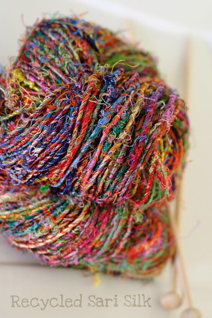 Recycled Sari Silk Yarn - Tutti Fruitti.  Hey B .... would love a crochet shawl from this yarn...