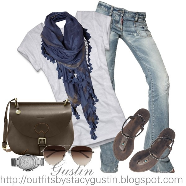 Blue Scarf & White T-Shirt