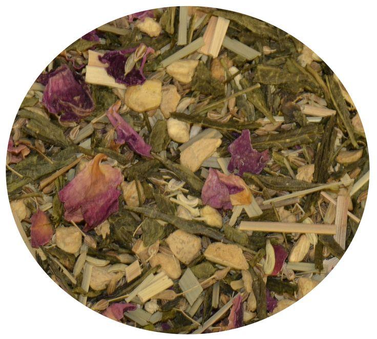 """""""Té Verde Drenante"""" Té verde con trozos de jengibre, hinojo, anís, lemongrass y rosas. 6€/100gr."""