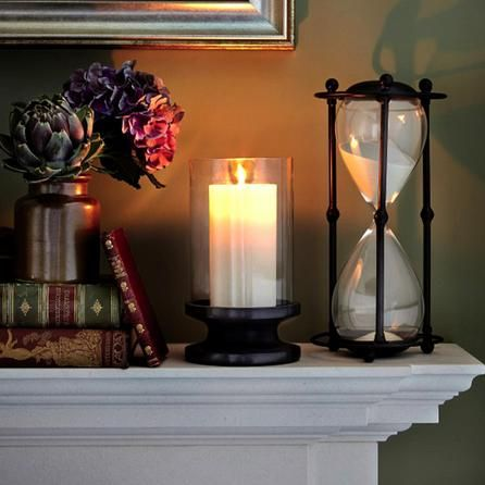 black dorma collection glass and stone hurricane candle. Black Bedroom Furniture Sets. Home Design Ideas