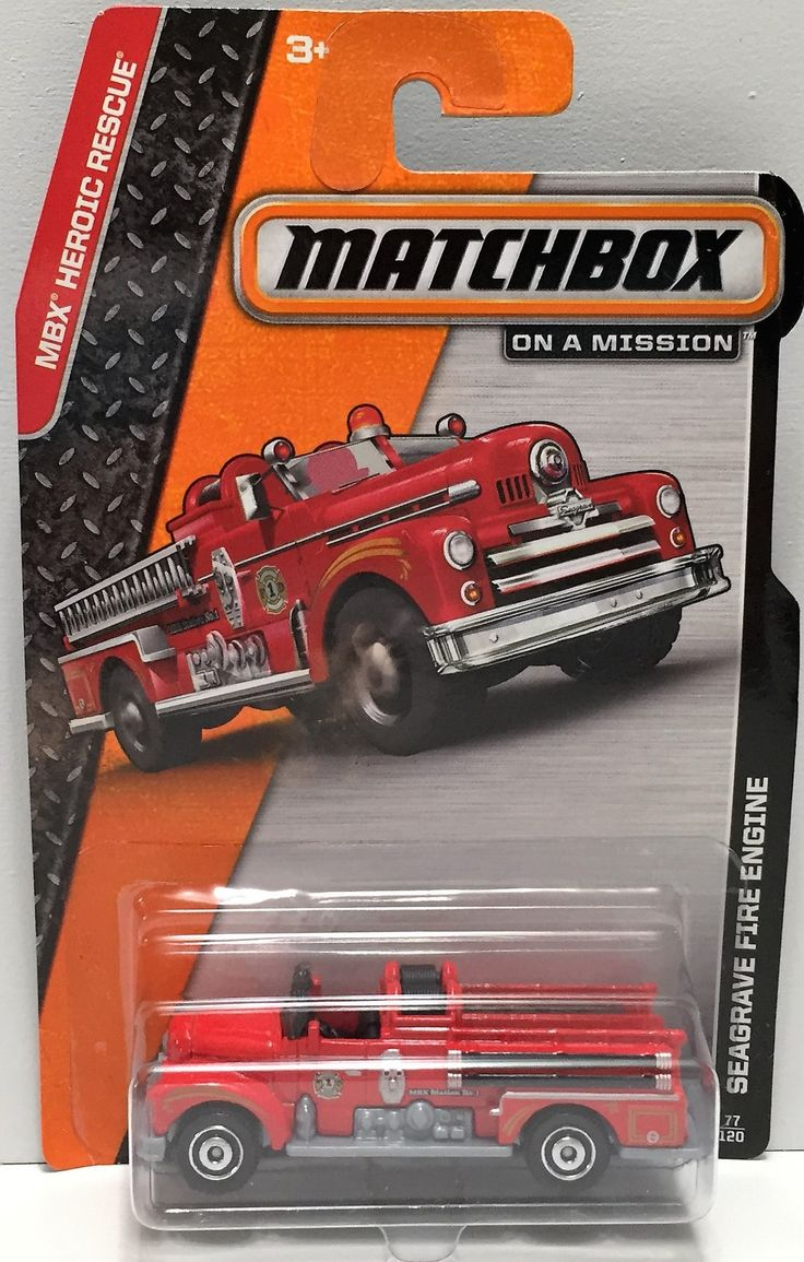 Toys toy boxes and fire trucks on pinterest -  Tas033810 2013 Mattel Matchbox On A Mission Car Seagrave Fire Engine
