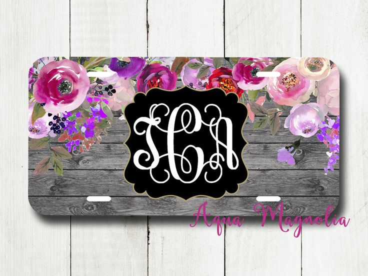 Watercolor Peony Flowers - Pink & Purple - Personalized License Plate - Grey Weathered Wood - Car Tag - Monogrammed License Plate by AquaMagnolia on Etsy