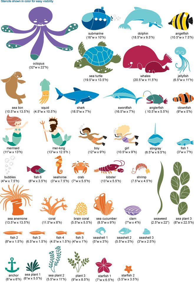 Under The Sea Theme   Ocean Wall Mural Stencil Kit Part 44