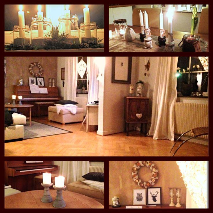 #vardagsrum #piano #uggla #bok #inspiration #inredning #vardagsrum #jul #krans #ljus