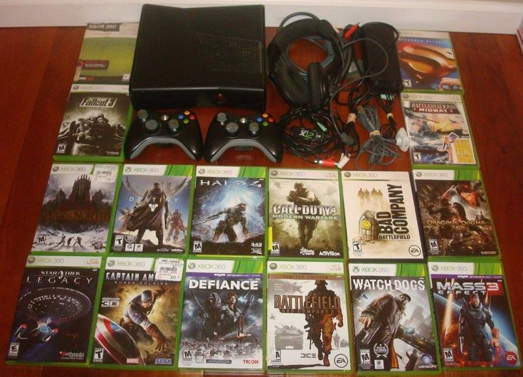 Xbox 360 BUNDLE Controllers 16 games Headset Destiny Halo 4 Black Ops Fallout 3
