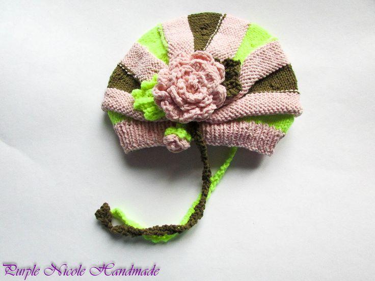 Meera - Handmade Crochet Children Set: beautiful crochet hat & gloves (mittens) by Purple Nicole (Nicole Cea Mov). Materials: baby pink, kaki green and neon green.