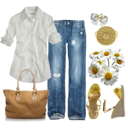 Can't go wrong with a white button-down and jeans.