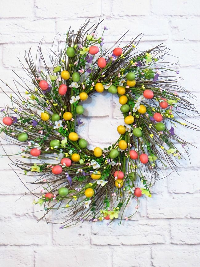 colorful Easter egg wreath for Spring