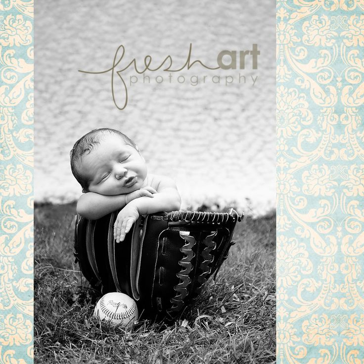Baby boy in a baseball glove via Fresh Art photography