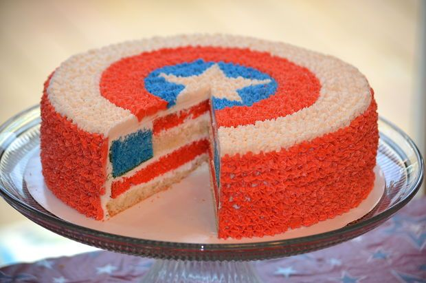 Captain America Cake with flag inside