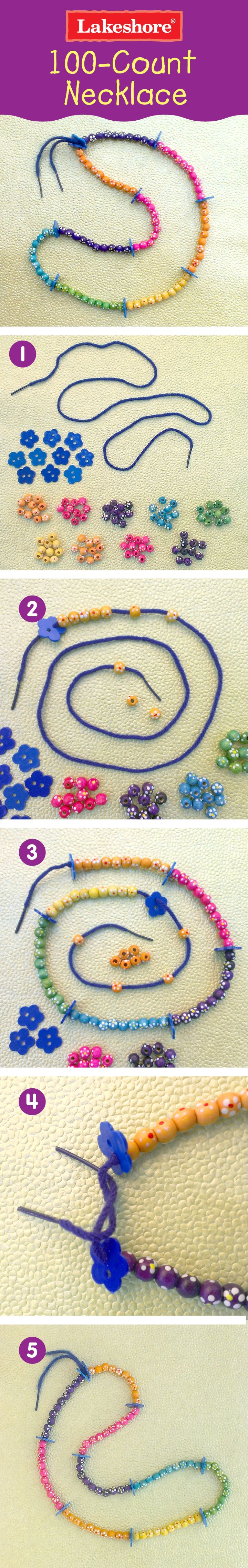 Children get hands-on counting practice…as they create a colorful necklace to wear on the 100th day of school! #100days