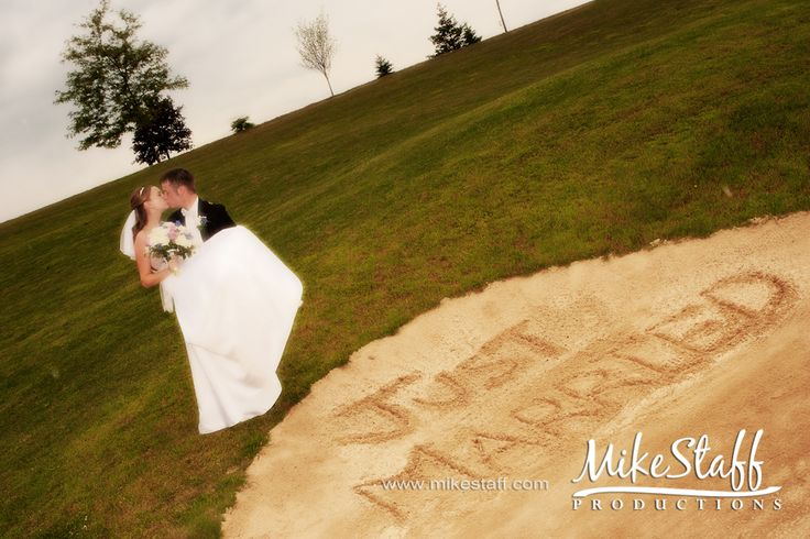 Love this romantic Just Married photo on the course