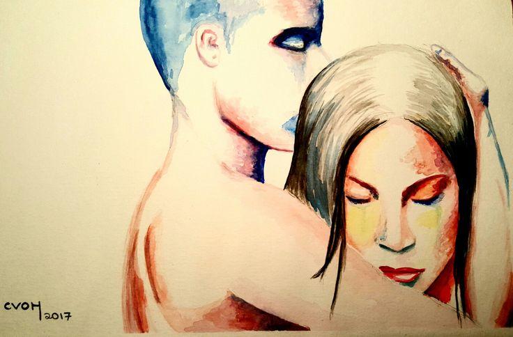 #CVOH #acuarela. #abrazos #amor. Abrázame fuerte hasta que las fisuras de mi corazón se junten. #Agosto #Chile #2017.