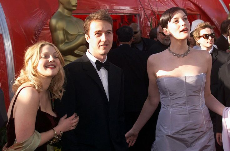 with Drew Barrymore, Edward Norton and boyfriend Royston Langdon - at Oscars…