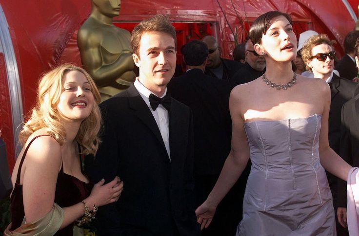 with Drew Barrymore, Edward Norton and boyfriend Royston Langdon - at Oscars…