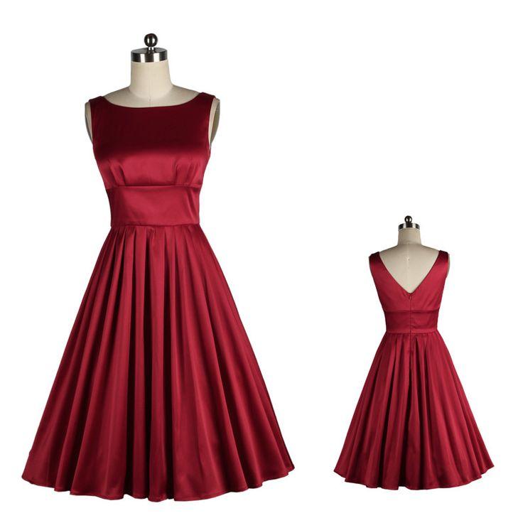 vestido vintage de satén rojo oscuro - Buscar con Google