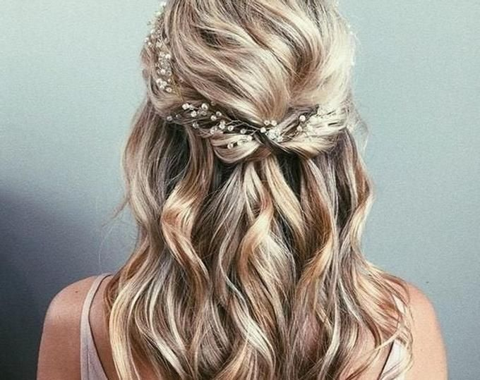 Simple Wedding Pearl Hair Vine White Ivory Bridal Pearl Hair Vine Rose gold Headpiece Headband Minimalistic Hairpiece Long Thin Hair Vine
