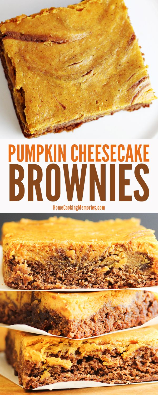 Easy fall dessert! This Pumpkin Cheesecake Brownies recipe starts with boxed brownie mix, then you add a homemade pumpkin cheesecake layer. YUM!