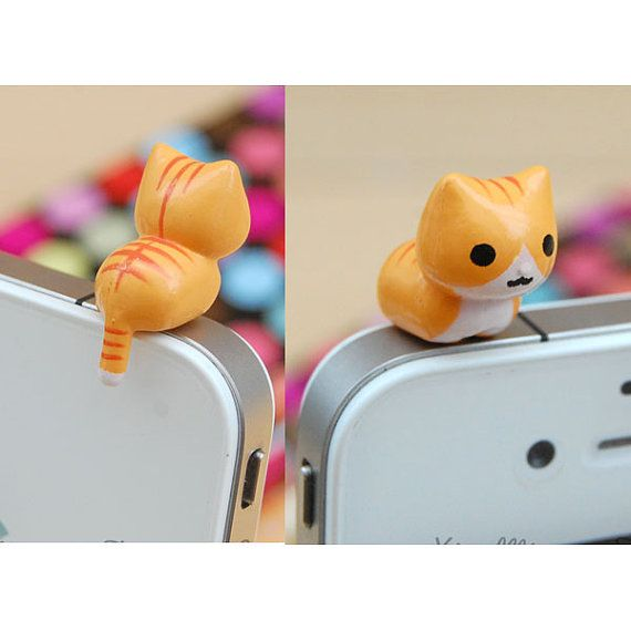 30OFF Kawaii Yellow Squat Cat Kitty Kitten 3.5mm by Polaris798, $3.88