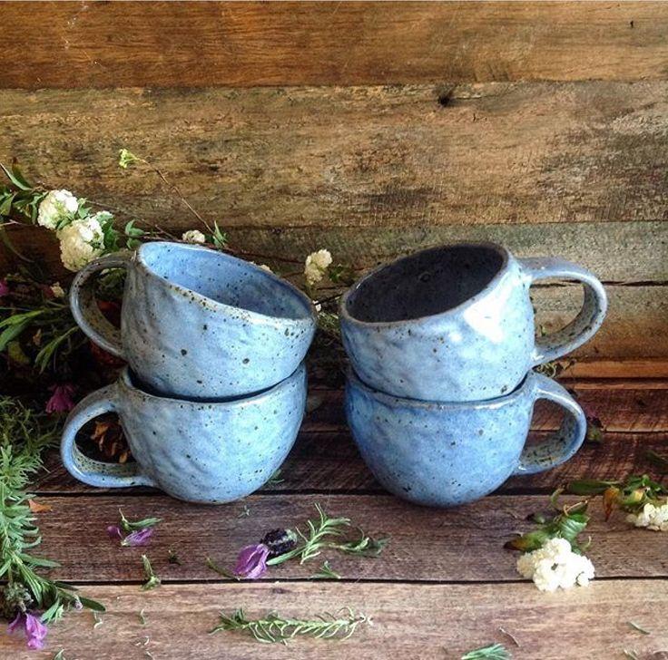 Blue pinchpot mugs by Barakee Pottery