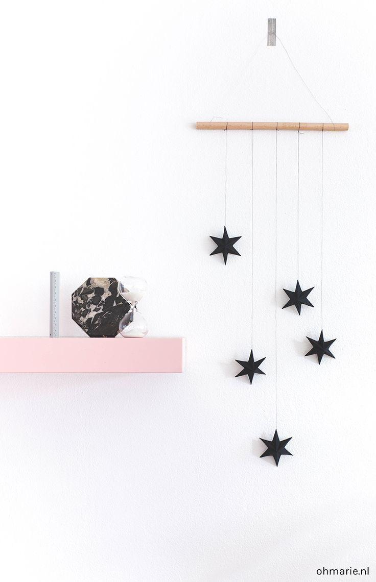 DIY Wall Hanging with 3d Paper Stars - Papieren 3D sterren - Oh Marie!