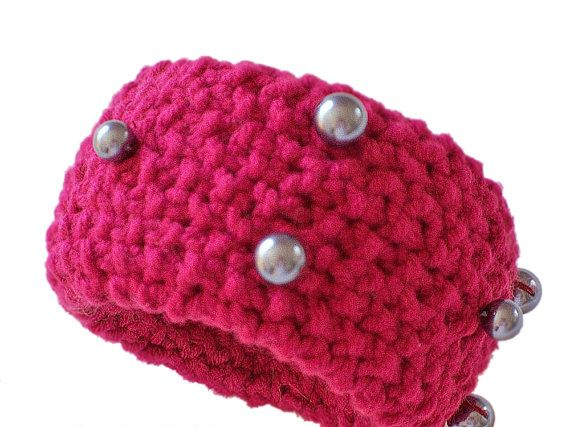 Bracelet Cuff Hand Knit Azalea Colored with Beads by knitwhats, $12.00