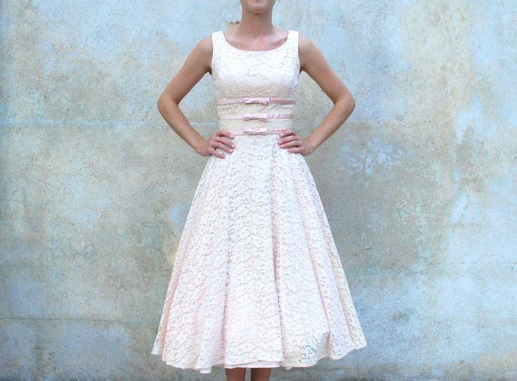 Vintage 1950s blush pink lace tea length dress 50s prom for Blush vintage wedding dress
