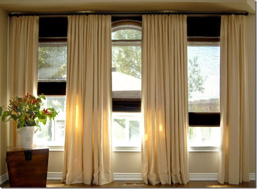 Triple window curtain placement kami living room pinterest for 3 window curtain design