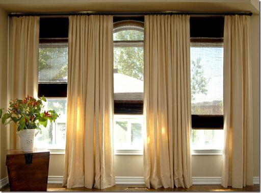 triple window curtain placement | Kami living room | Pinterest