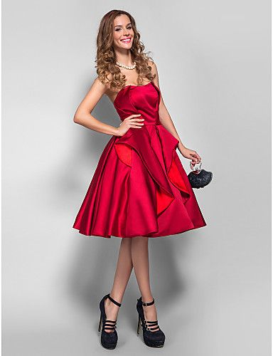 TS Couture® Cocktail Party / Homecoming / Holiday / Company Party Dress - 1950s Plus Size / Petite A-line Strapless Knee-length Satin 1289998 2016 – $63.99