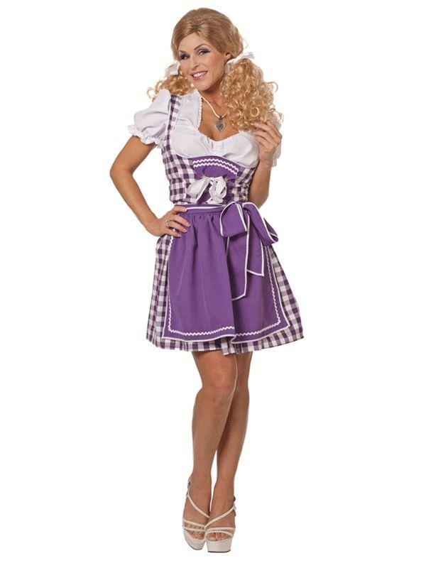 Oktoberfest jurk sexy paars. Sexy Beiers jurkje met paarse accenten. Leuke te combioneren met hoge witte kousen.