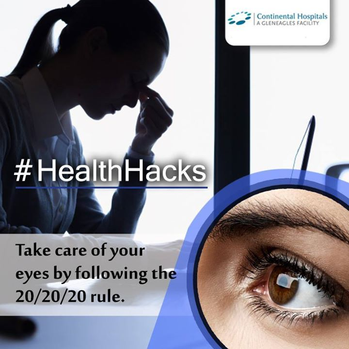 Staring at a backlit device such as #smartphone or #laptop all day will strain your #eyes. Follow 20/20/20 rule reduces this: Every 20 minutes, take a 20-second break, let your eyes to wander over something 20 feet in distance. #Healthhacks