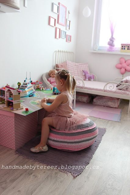 Lego friends, crochet puf ... DIY ... pink ...