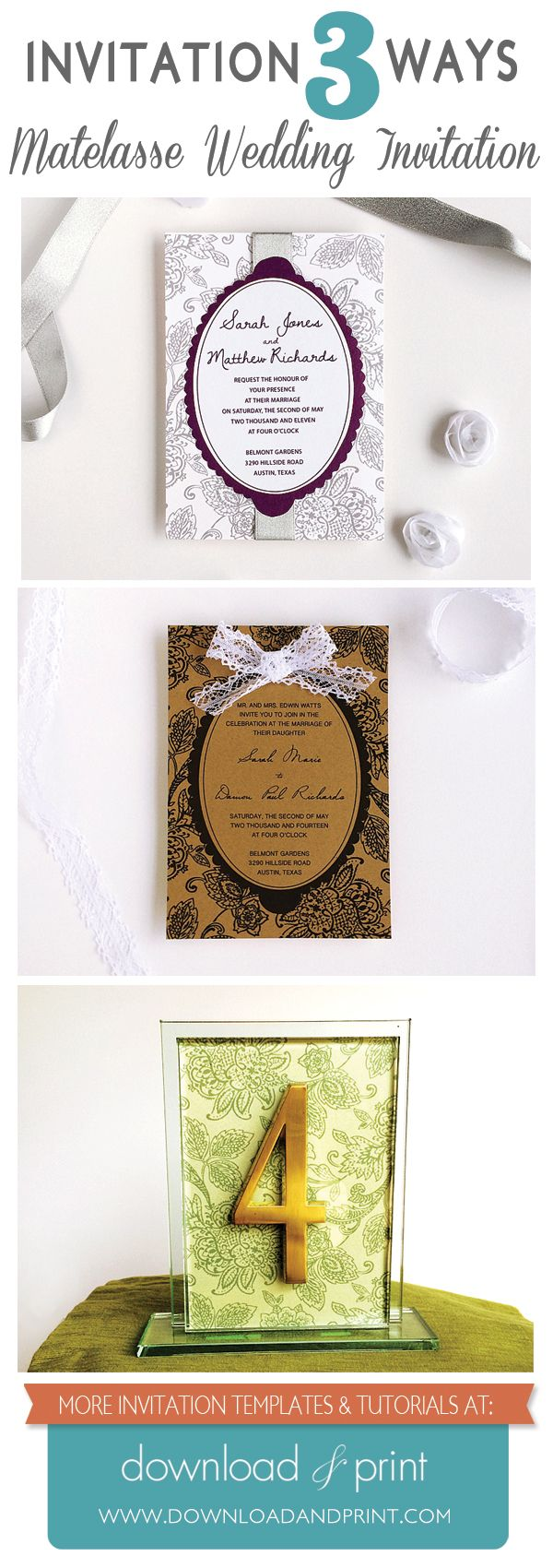 3 DIY Wedding Invitations Using An Elegant