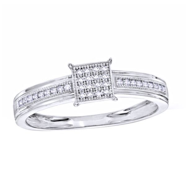 1/10ct D/VVS1 Diamond Square Cluster Engagement Ring In 14K White Gold Over $999 #AffinityFashionJewelry #Cluster #EngagementWeddingAnniversaryMemorialDay