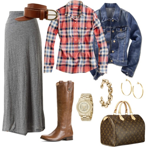 fall skirt outfit, could go with a shorter skirt too