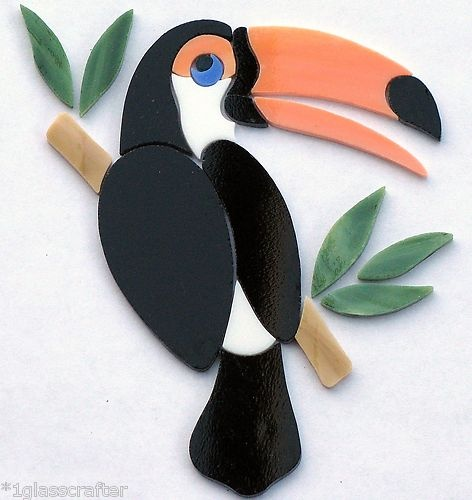 Toucan precut stained glass inlay kit. Can be used for suncatcher or mosaic tile inlay.